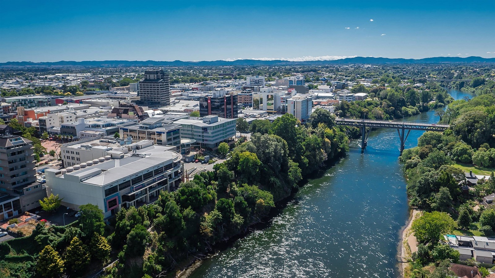 A photograph of central Hamilton and the Waikato River
